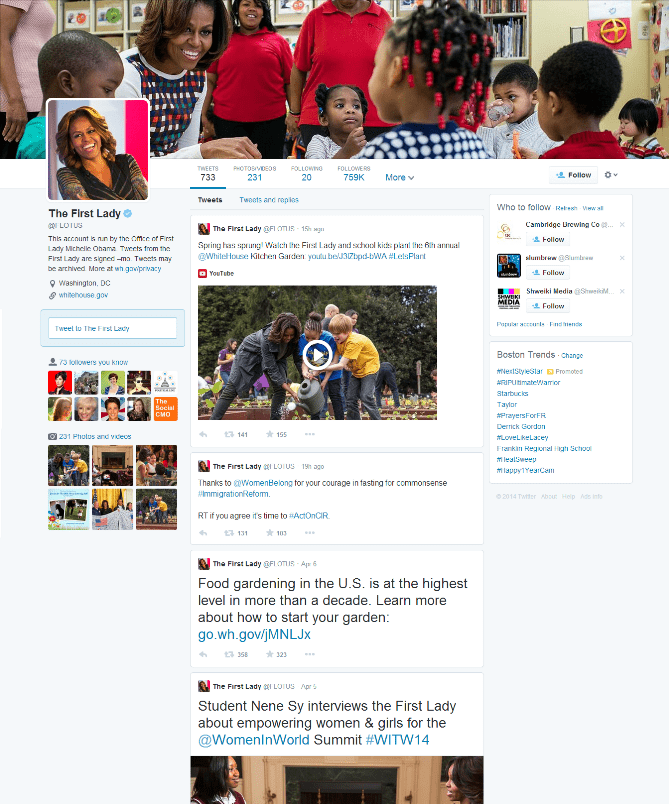 new twitter layout - Michelle Obama