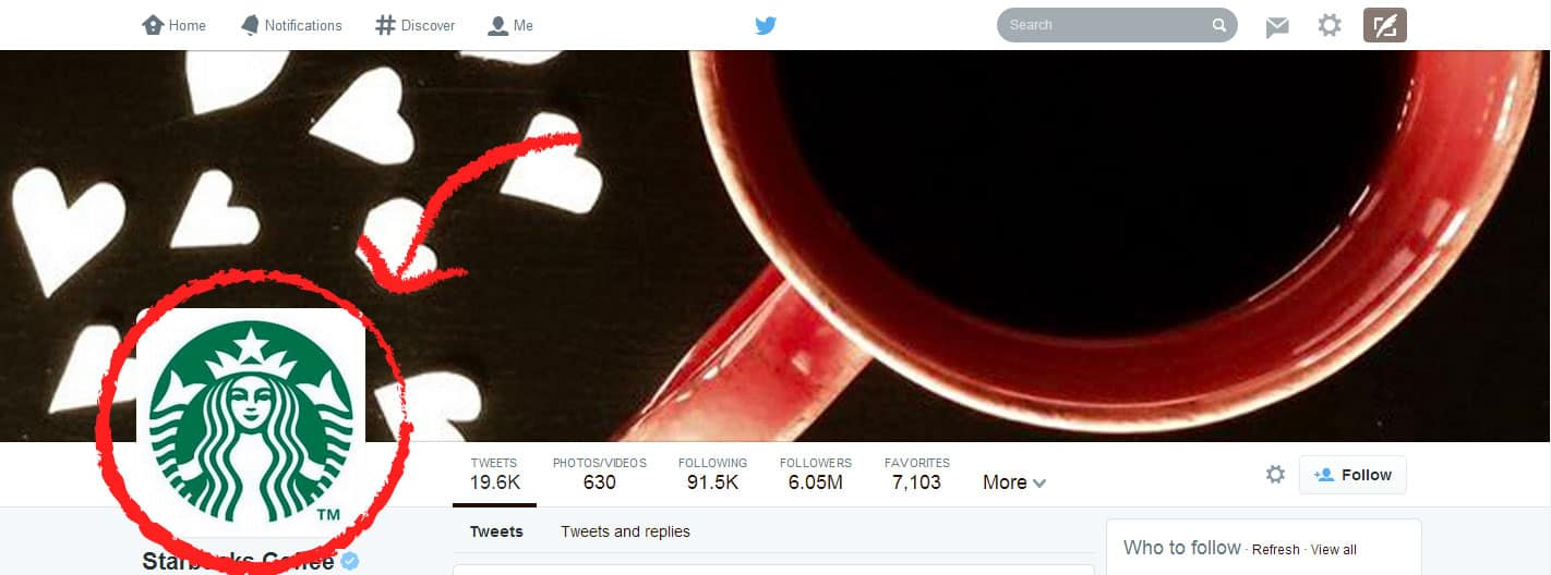 Twitter profile - Starbucks