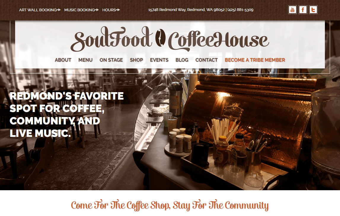 SoulFood CoffeeHouse home page screen shot