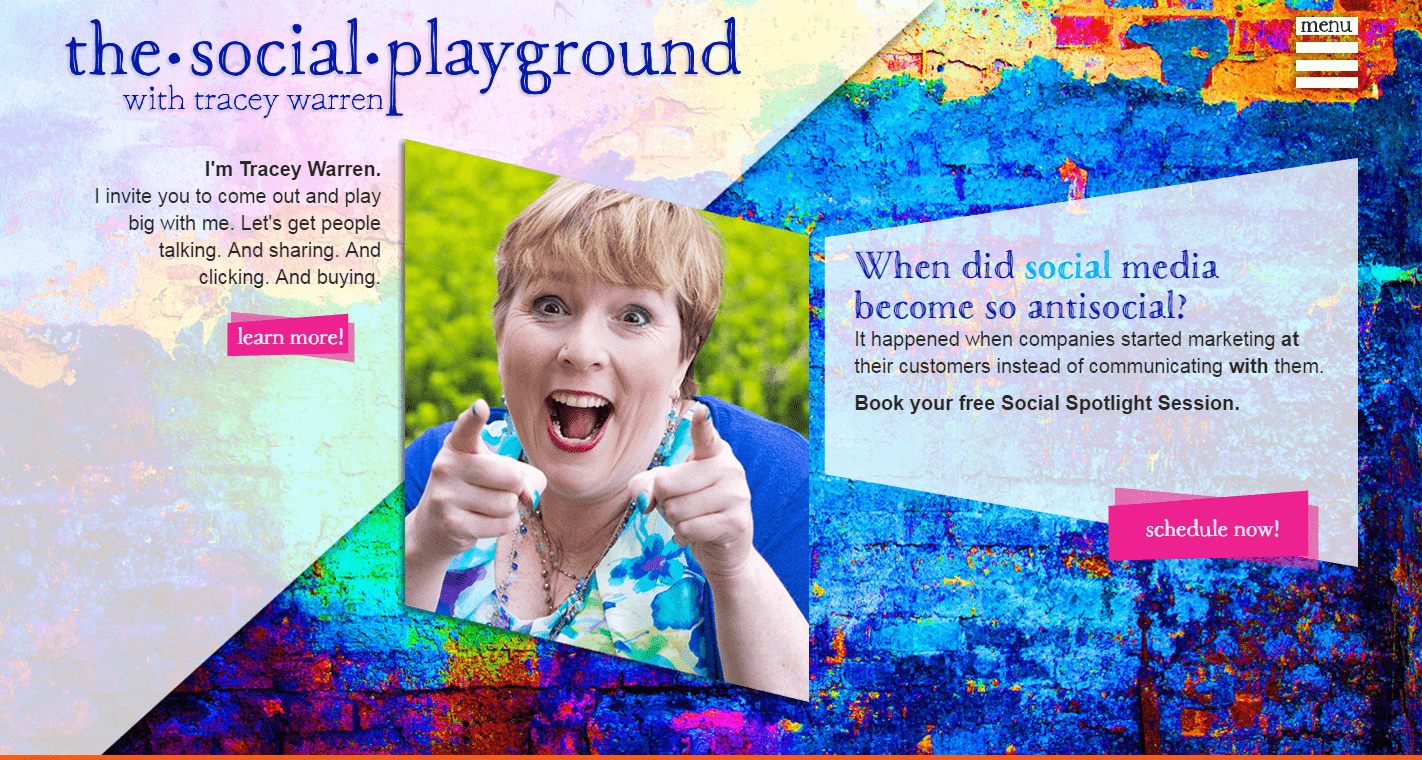 The Social Playground home page screen shot